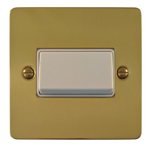 G&H FB69W Flat Plate Polished Brass 1 Gang Triple Pole 10A Fan Isolator Switch